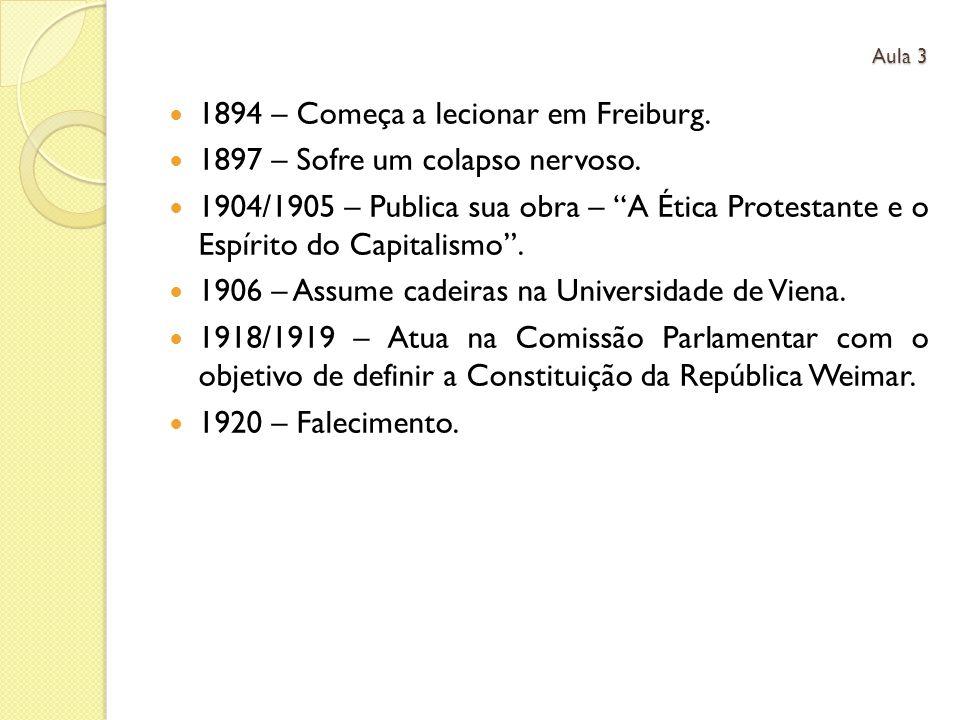 1894 – Começa a lecionar em Freiburg. 1897 – Sofre um colapso nervoso.