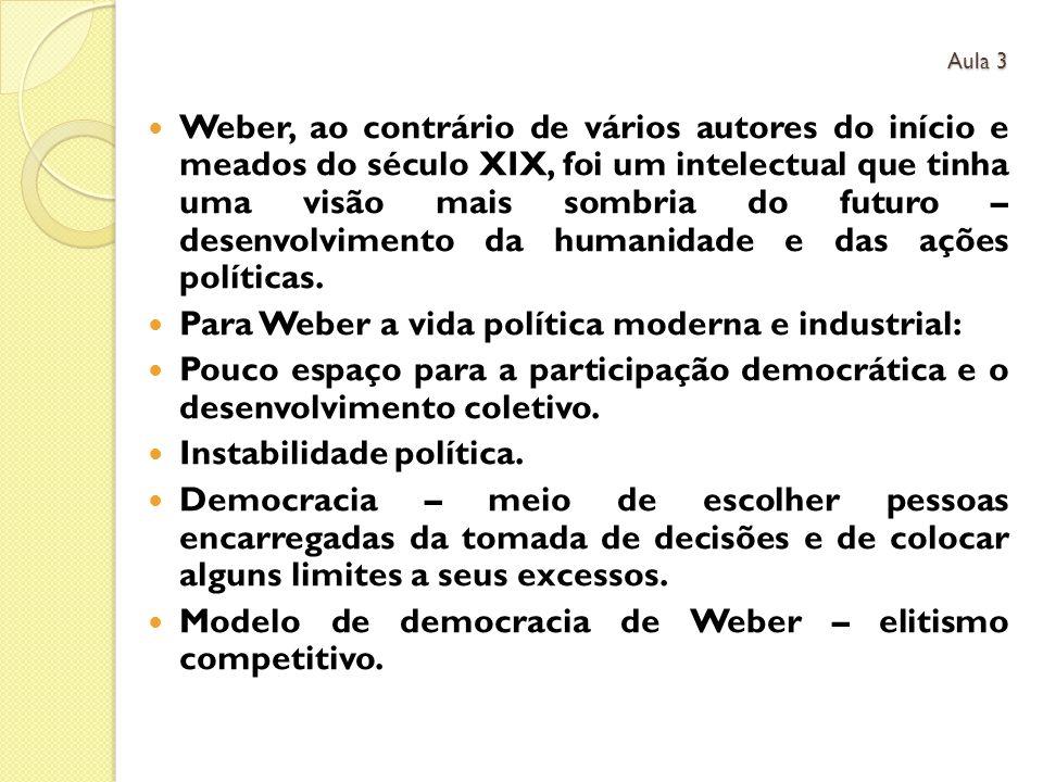 Para Weber a vida política moderna e industrial: