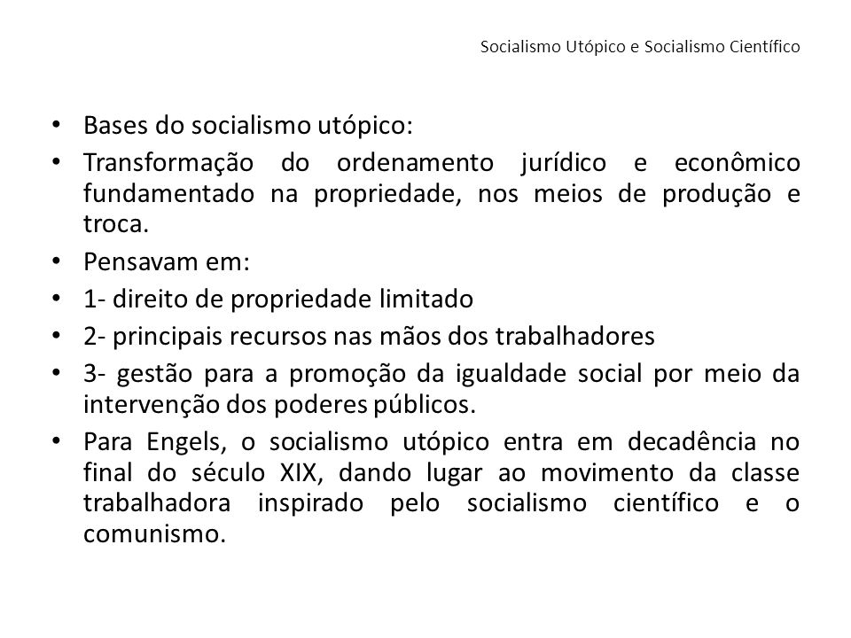 Socialismo Utópico e Socialismo Científico