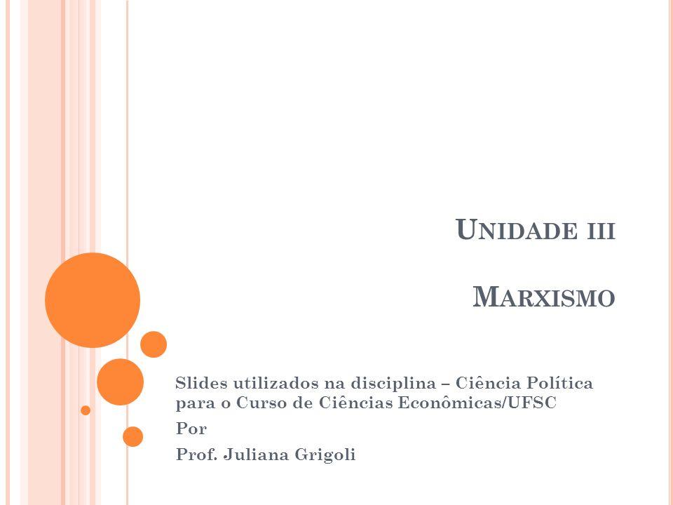 Unidade iii Marxismo Slides utilizados na disciplina – Ciência Política para o Curso de Ciências Econômicas/UFSC.