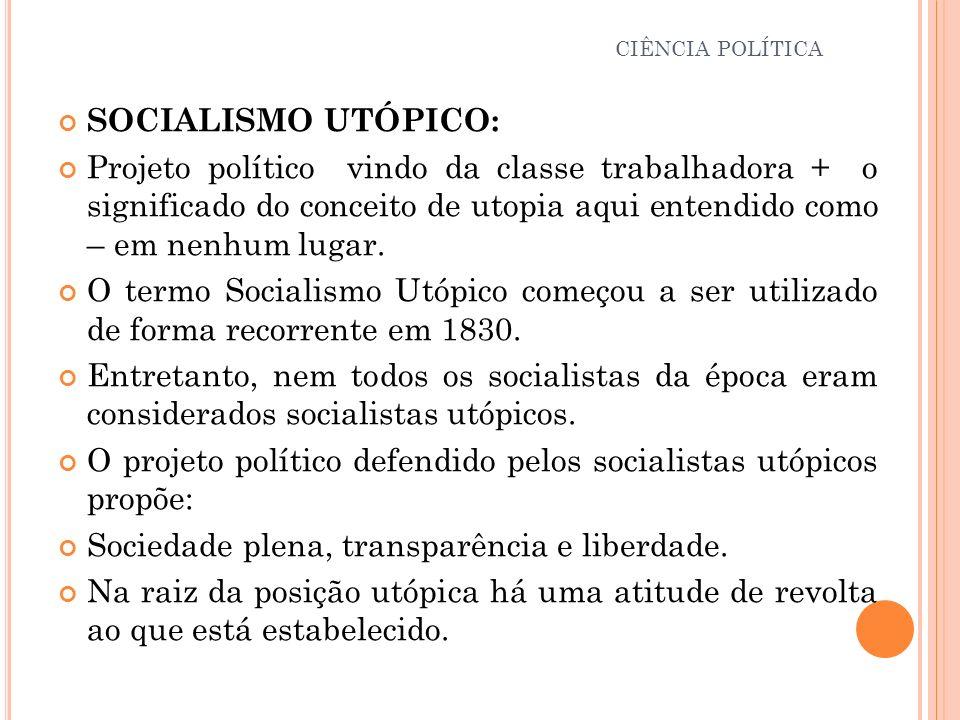 O projeto político defendido pelos socialistas utópicos propõe: