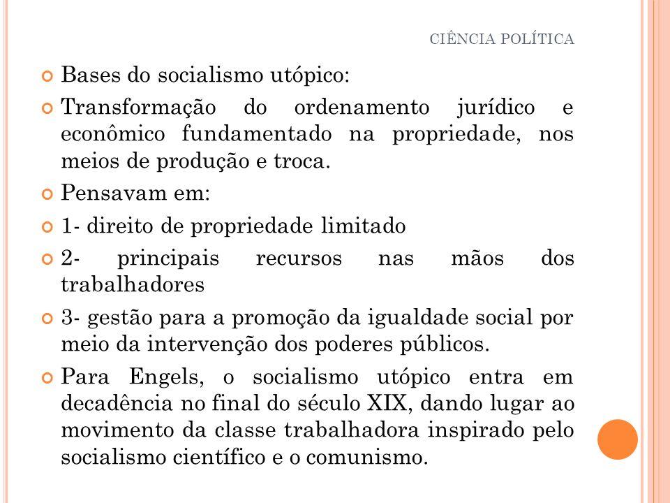 Bases do socialismo utópico: