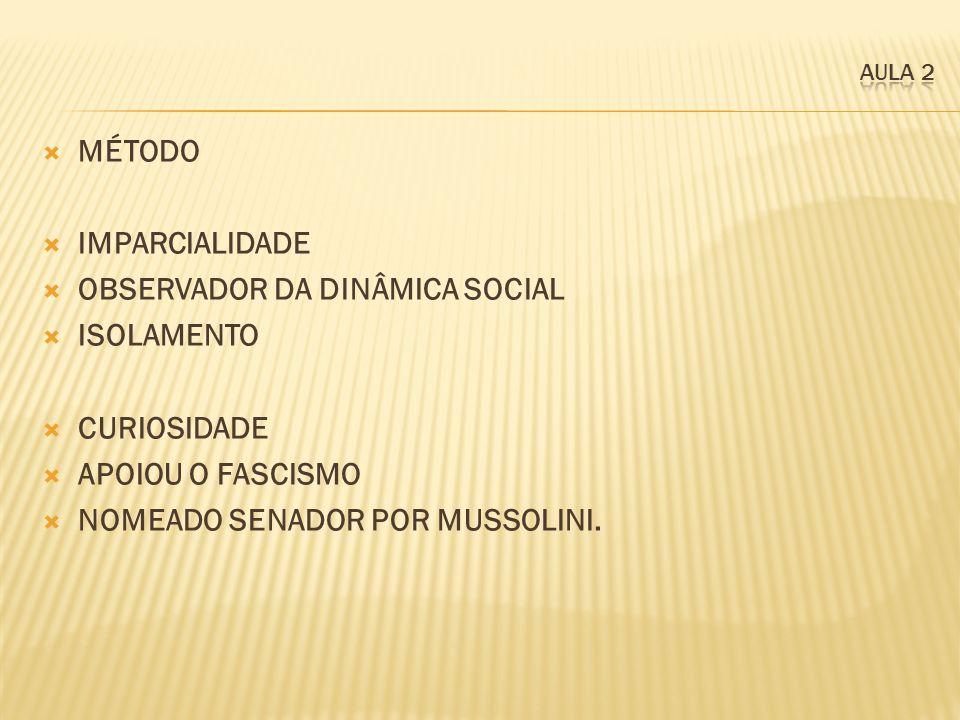 OBSERVADOR DA DINÂMICA SOCIAL ISOLAMENTO CURIOSIDADE APOIOU O FASCISMO
