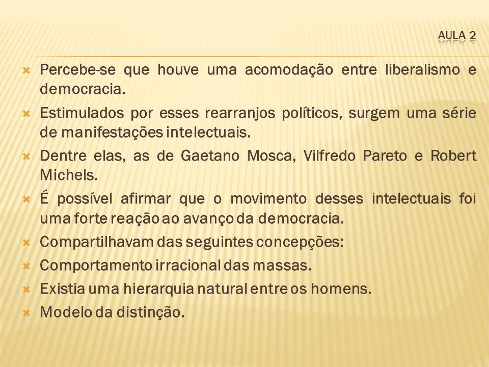Percebe-se que houve uma acomodação entre liberalismo e democracia.