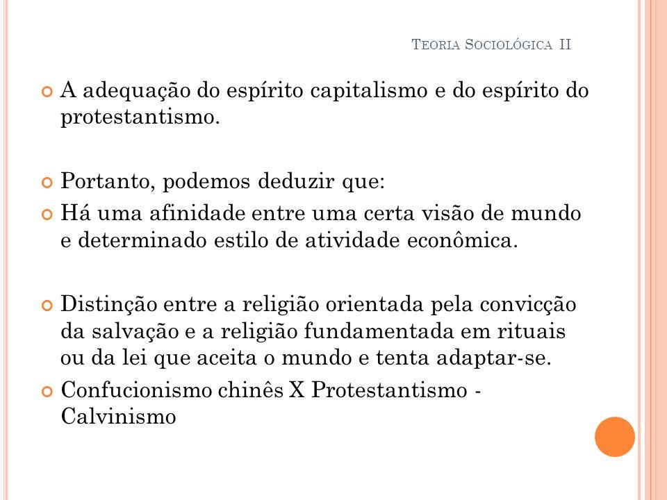 A adequação do espírito capitalismo e do espírito do protestantismo.