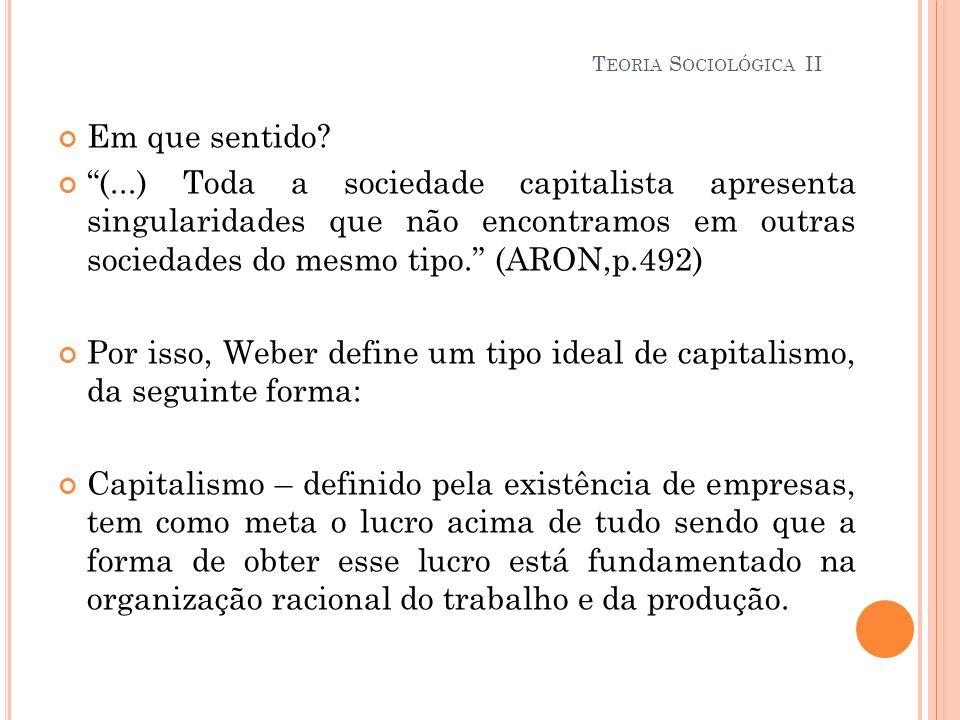Teoria Sociológica II Em que sentido