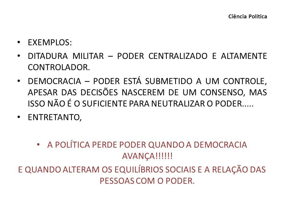 A POLÍTICA PERDE PODER QUANDO A DEMOCRACIA AVANÇA!!!!!!