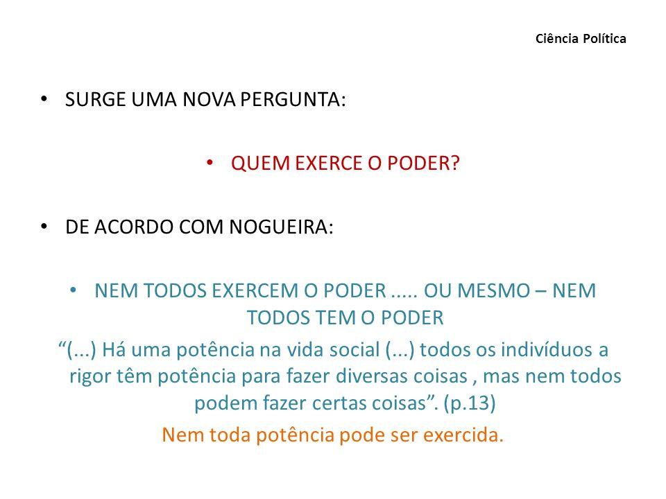 SURGE UMA NOVA PERGUNTA: QUEM EXERCE O PODER DE ACORDO COM NOGUEIRA: