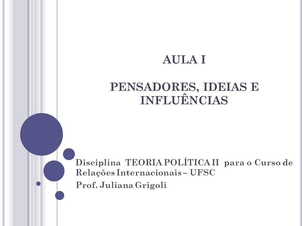 AULA I PENSADORES, IDEIAS E INFLUÊNCIAS
