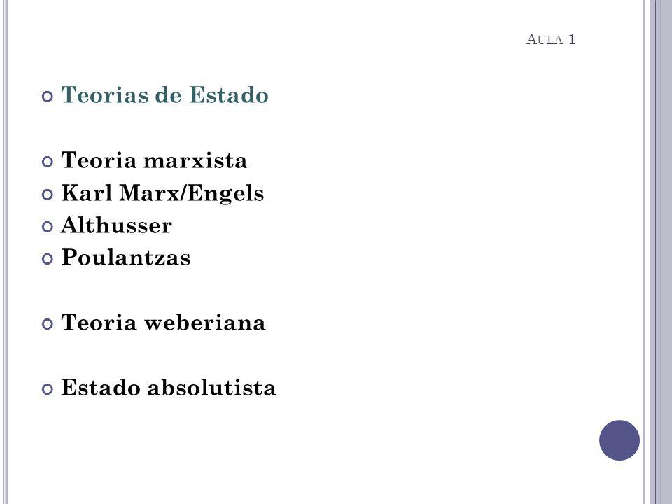 Teorias de Estado Teoria marxista Karl Marx/Engels Althusser