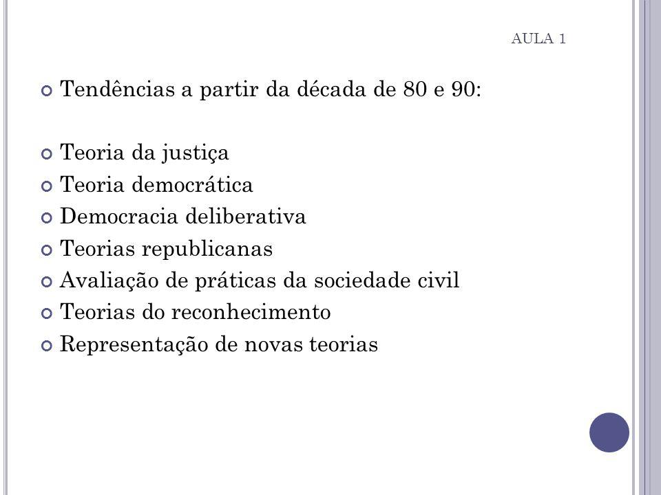 Tendências a partir da década de 80 e 90: Teoria da justiça