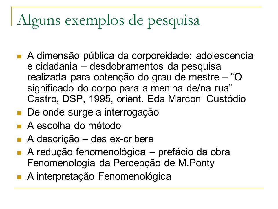 Alguns exemplos de pesquisa