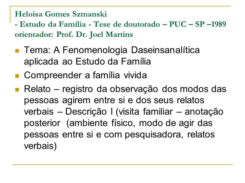 Tema: A Fenomenologia Daseinsanalítica aplicada ao Estudo da Família
