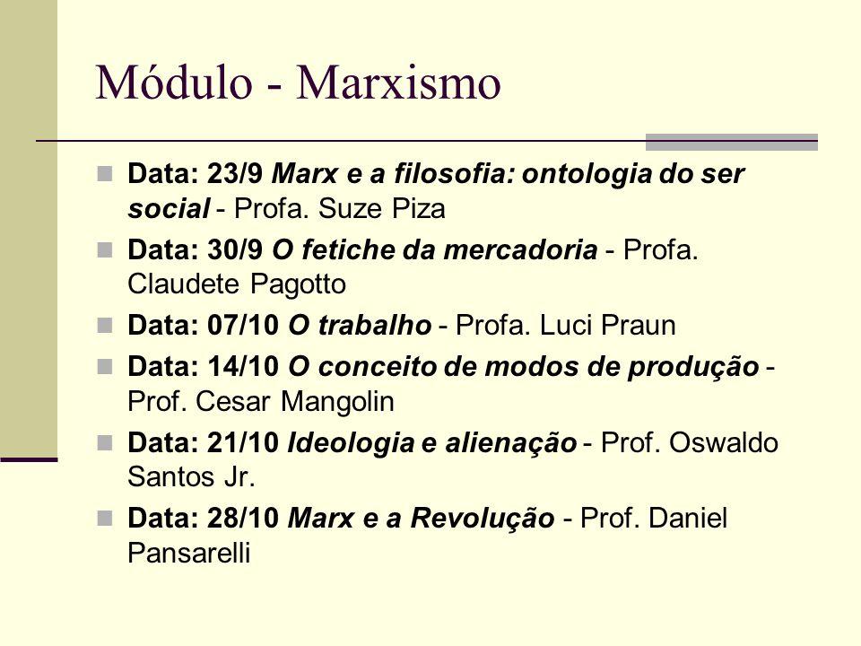 Módulo - Marxismo Data: 23/9 Marx e a filosofia: ontologia do ser social - Profa. Suze Piza.