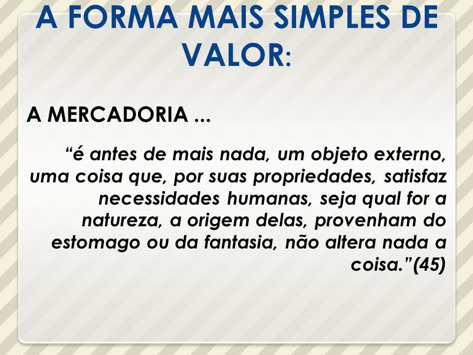 A FORMA MAIS SIMPLES DE VALOR:
