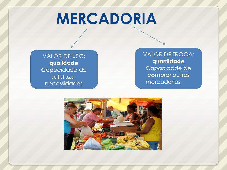 MERCADORIA VALOR DE TROCA: quantidade VALOR DE USO: qualidade