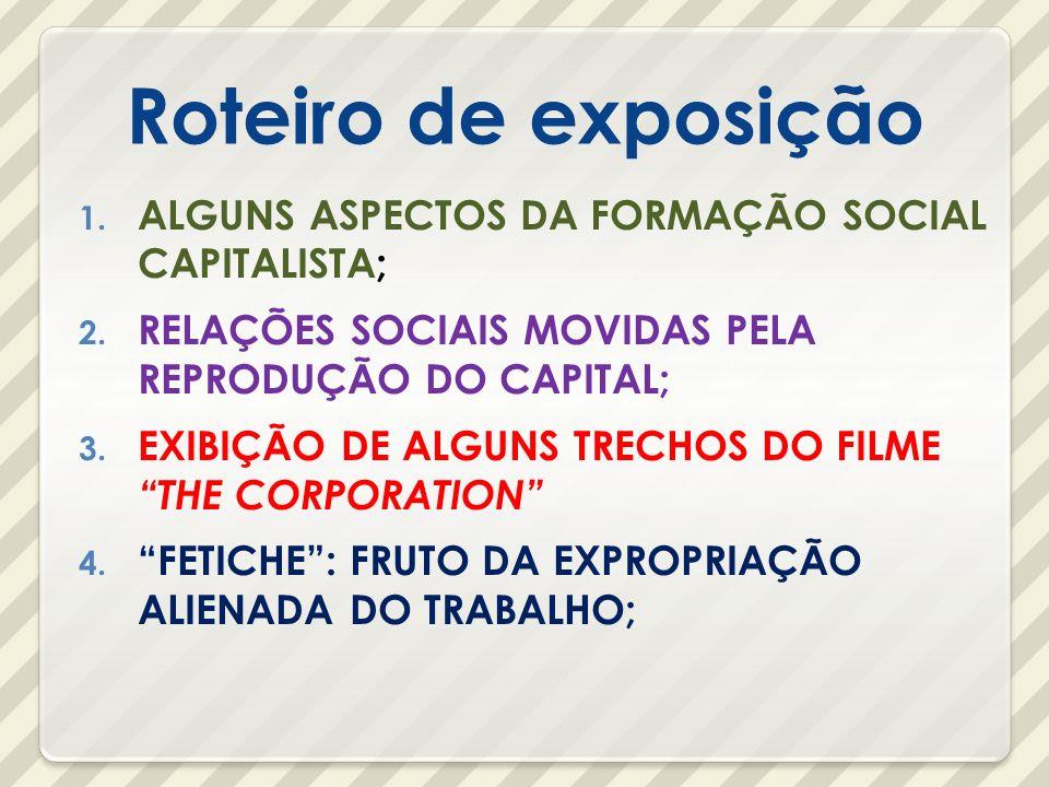 Roteiro de exposição ALGUNS ASPECTOS DA FORMAÇÃO SOCIAL CAPITALISTA;