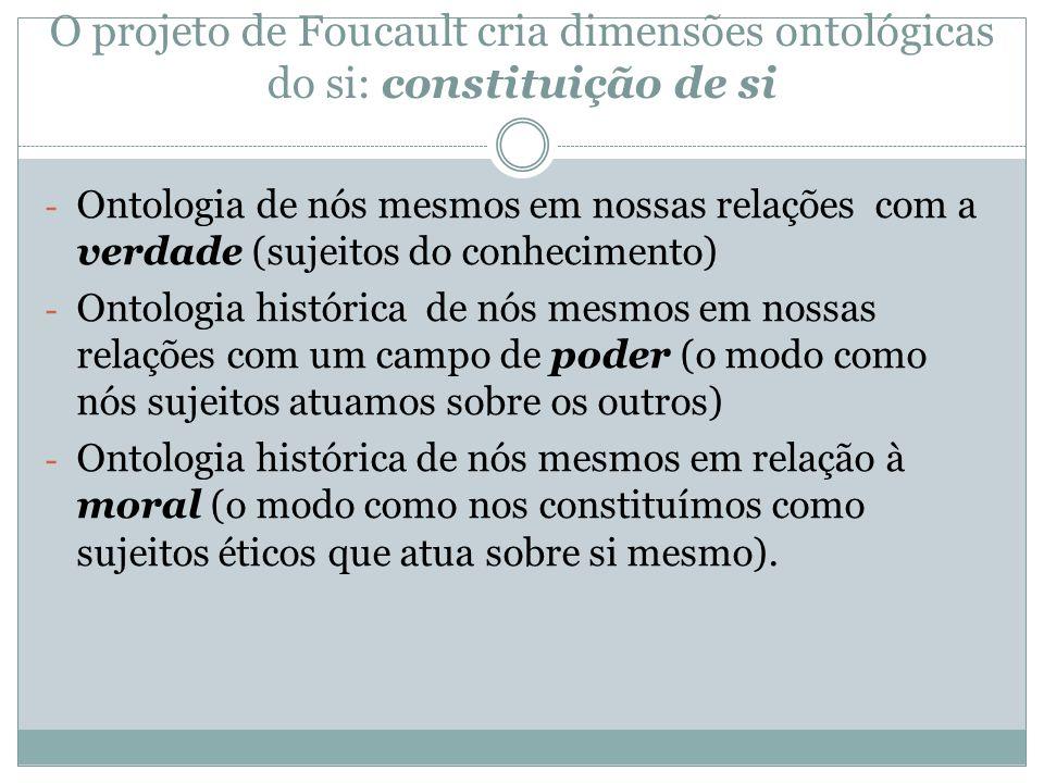 O projeto de Foucault cria dimensões ontológicas do si: constituição de si