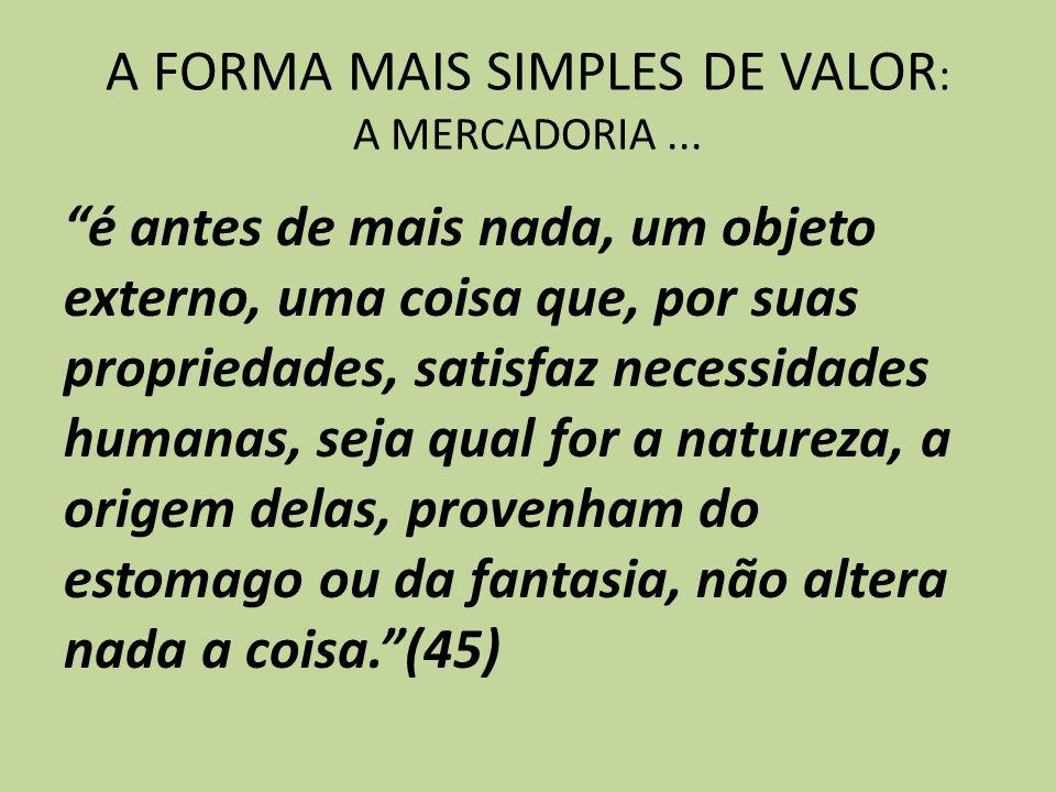 A FORMA MAIS SIMPLES DE VALOR: A MERCADORIA ...