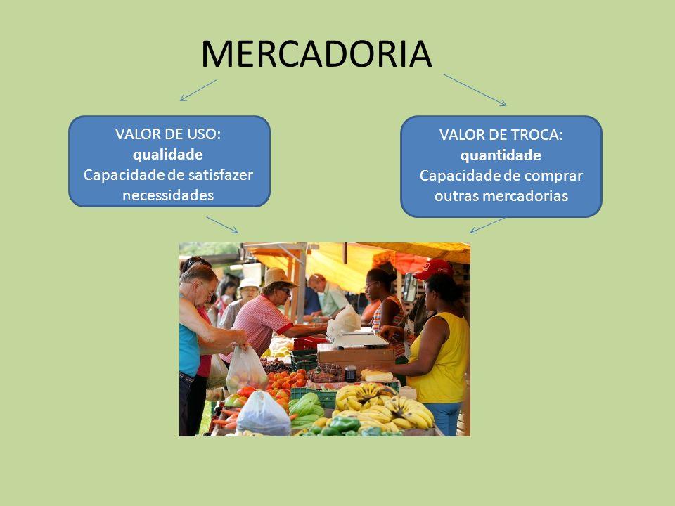 MERCADORIA VALOR DE USO: VALOR DE TROCA: quantidade qualidade