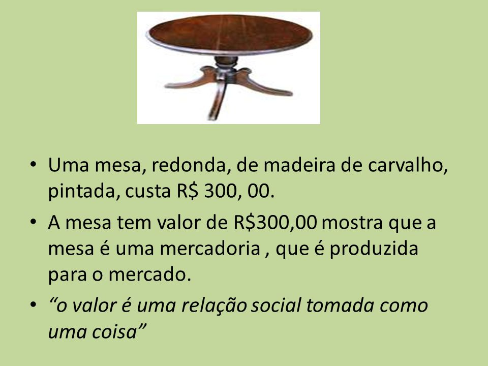 Uma mesa, redonda, de madeira de carvalho, pintada, custa R$ 300, 00.