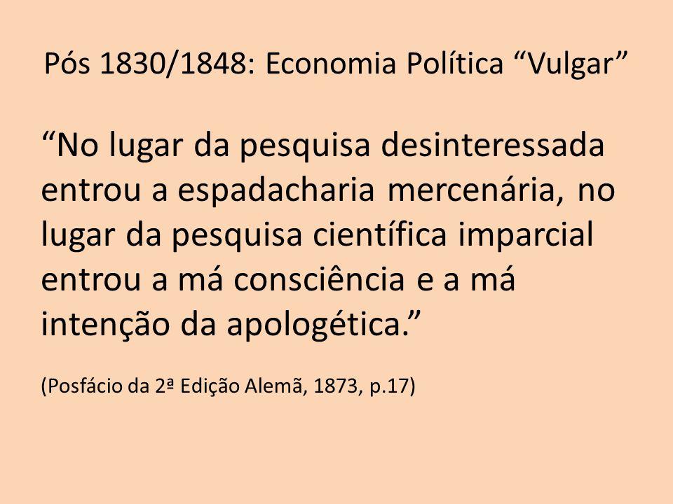 Pós 1830/1848: Economia Política Vulgar