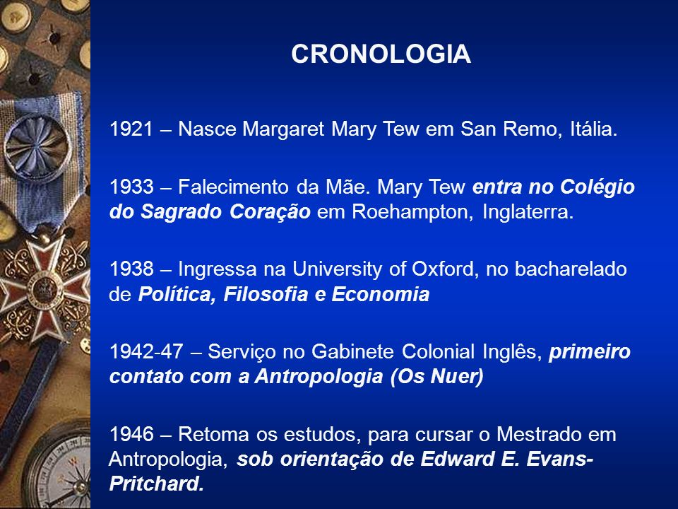 CRONOLOGIA 1921 – Nasce Margaret Mary Tew em San Remo, Itália.
