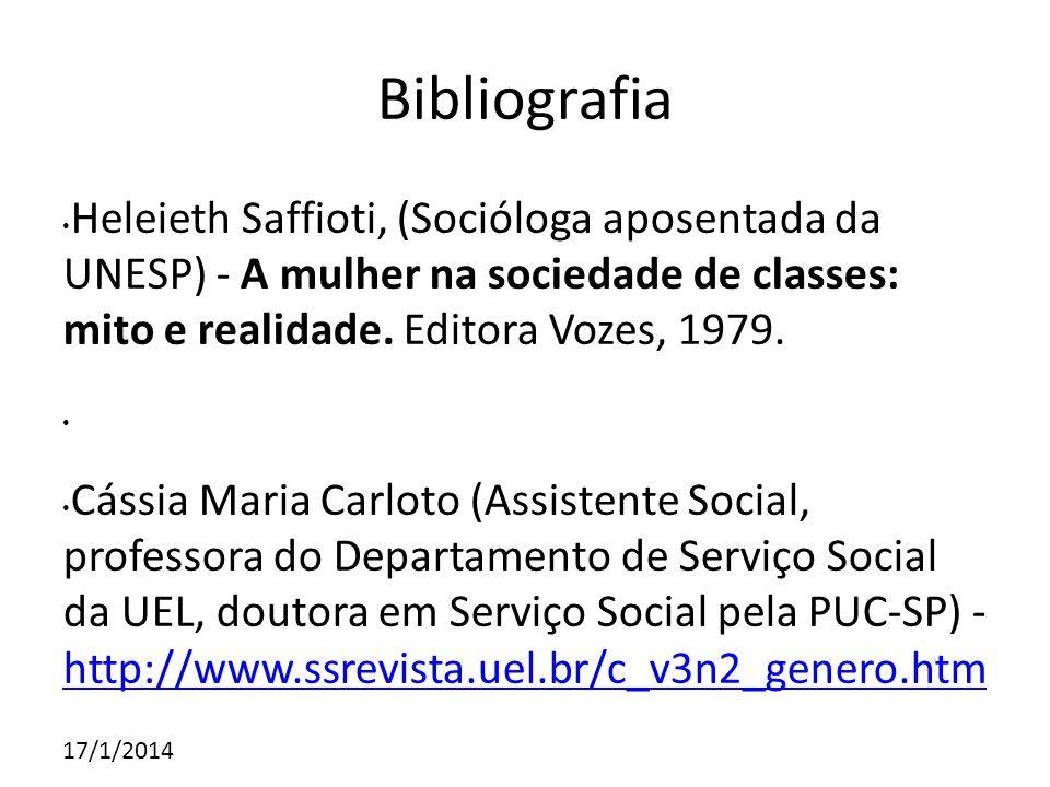 Bibliografia Heleieth Saffioti, (Socióloga aposentada da UNESP) - A mulher na sociedade de classes: mito e realidade. Editora Vozes, 1979.
