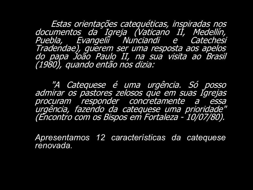Estas orientações catequéticas, inspiradas nos documentos da Igreja (Vaticano II, Medellín, Puebla, Evangelii Nunciandi e Catechesi Tradendae), querem ser uma resposta aos apelos do papa João Paulo II, na sua visita ao Brasil (1980), quando então nos dizia: