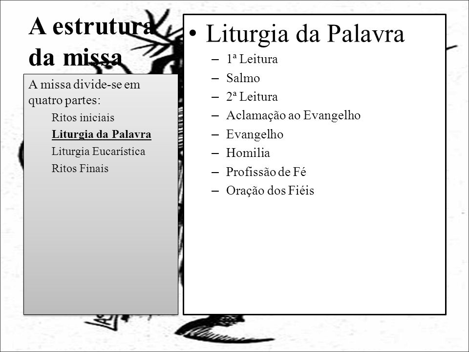 A estrutura da missa Liturgia da Palavra 1ª Leitura Salmo 2ª Leitura