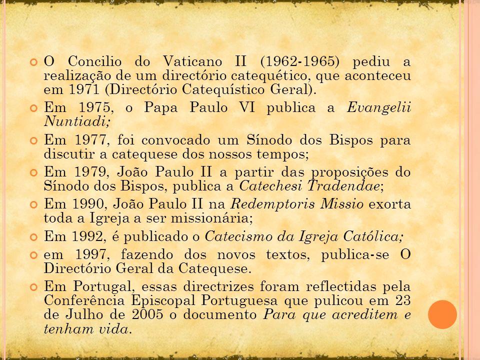 O Concilio do Vaticano II (1962-1965) pediu a realização de um directório catequético, que aconteceu em 1971 (Directório Catequístico Geral).