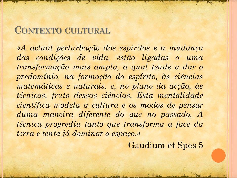 Contexto cultural Gaudium et Spes 5