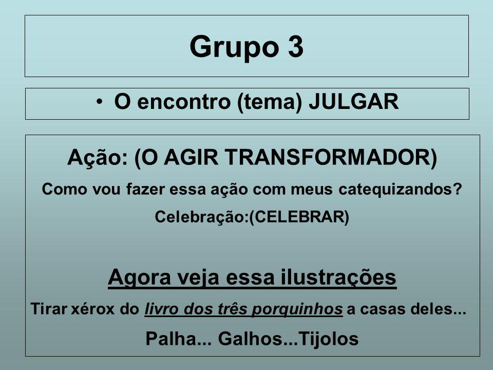 Grupo 3 O encontro (tema) JULGAR Ação: (O AGIR TRANSFORMADOR)