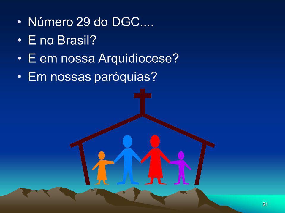 Número 29 do DGC.... E no Brasil E em nossa Arquidiocese Em nossas paróquias