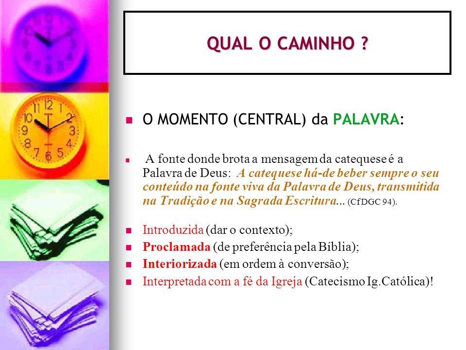 QUAL O CAMINHO O MOMENTO (CENTRAL) da PALAVRA: