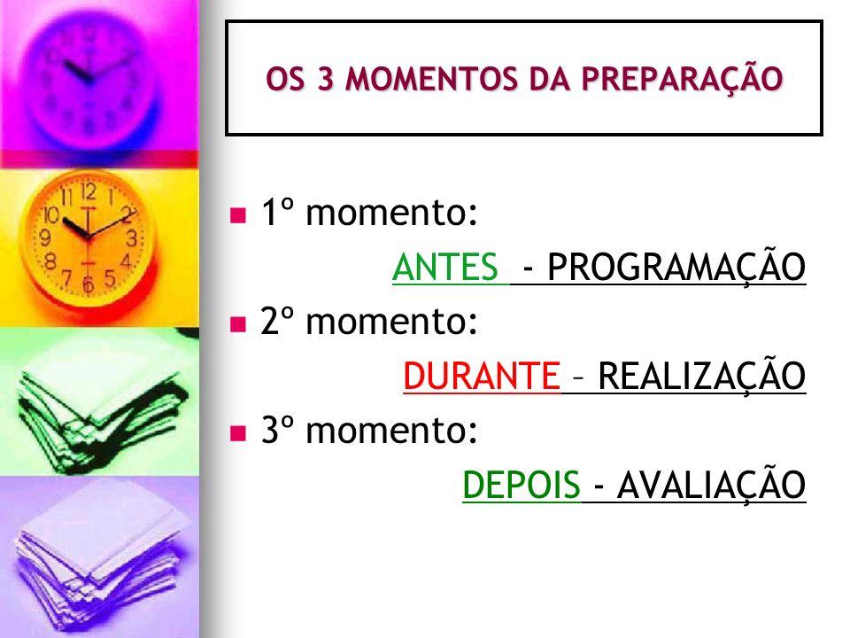 OS 3 MOMENTOS DA PREPARAÇÃO