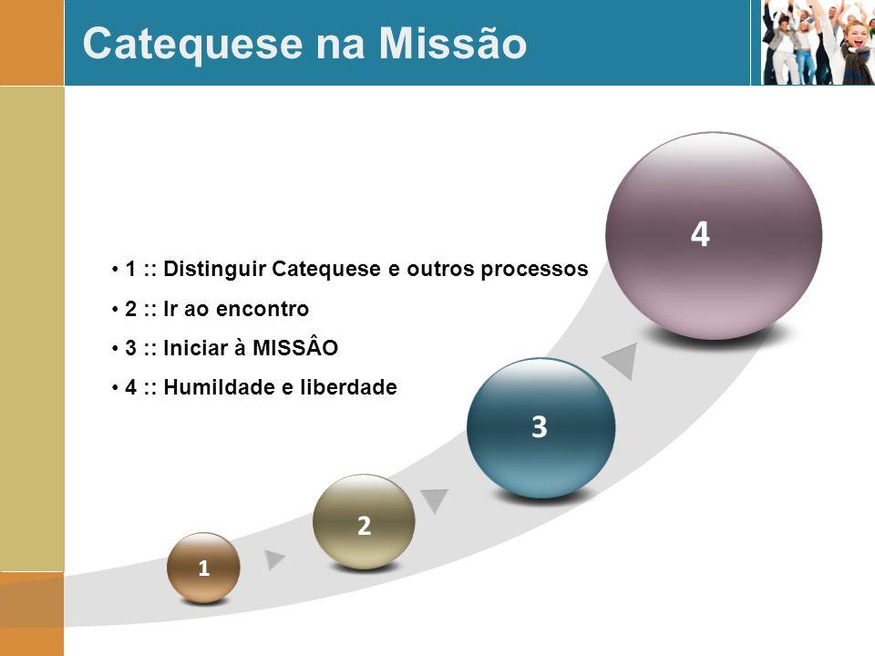 Catequese na Missão 4. 1 :: Distinguir Catequese e outros processos. 2 :: Ir ao encontro. 3 :: Iniciar à MISSÂO.