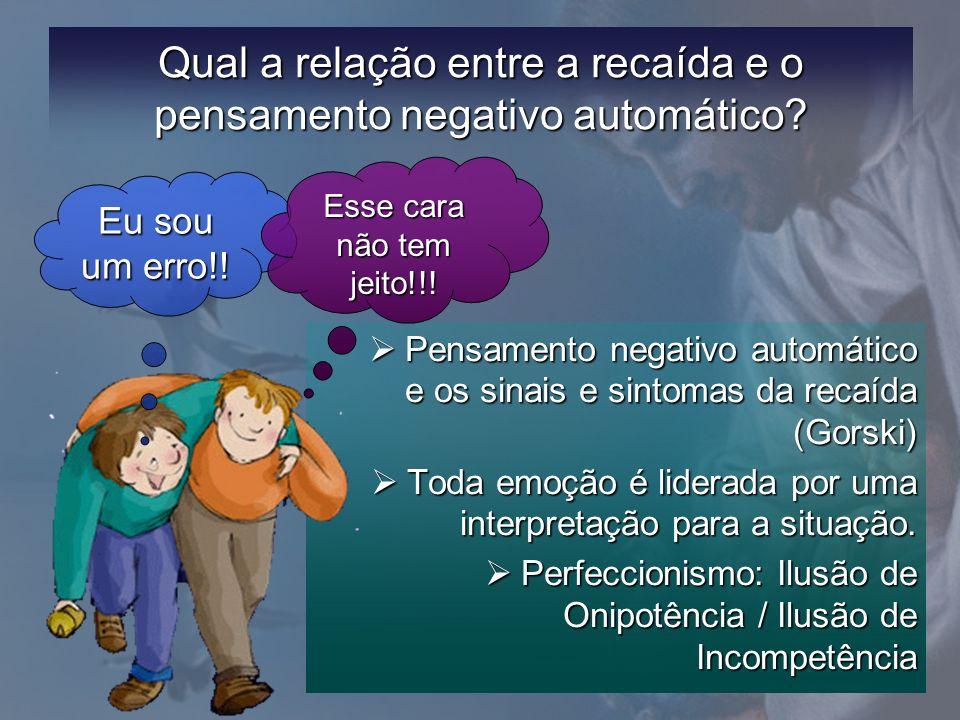 Qual a relação entre a recaída e o pensamento negativo automático