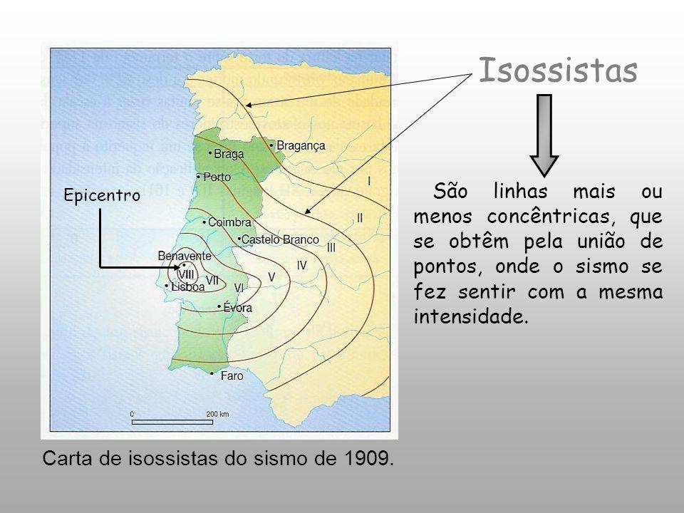 Isossistas São linhas mais ou menos concêntricas, que se obtêm pela união de pontos, onde o sismo se fez sentir com a mesma intensidade.