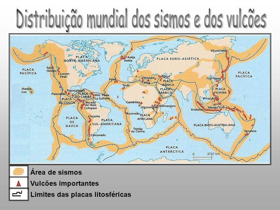 Distribuição mundial dos sismos e dos vulcões