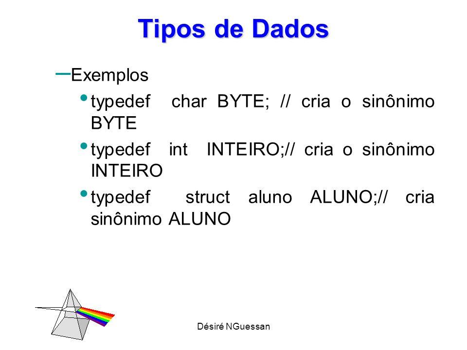 Tipos de Dados Exemplos typedef char BYTE; // cria o sinônimo BYTE