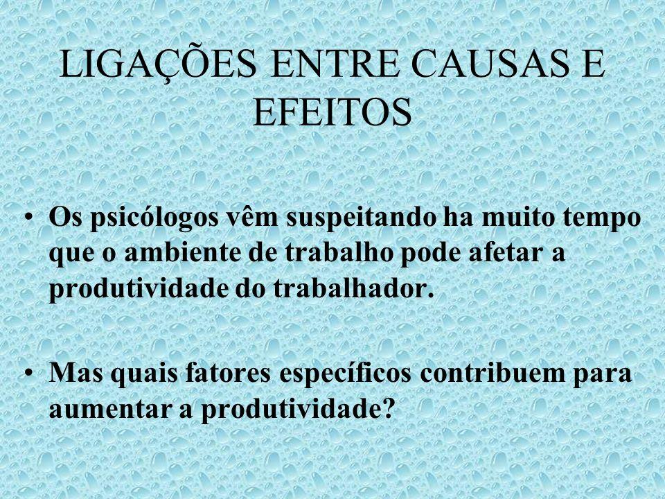 LIGAÇÕES ENTRE CAUSAS E EFEITOS