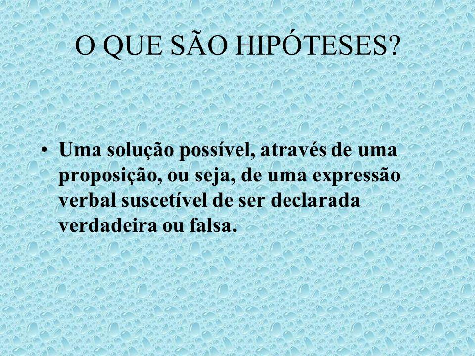O QUE SÃO HIPÓTESES