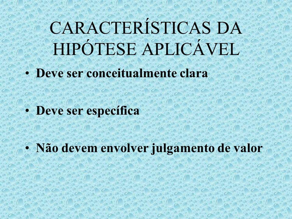 CARACTERÍSTICAS DA HIPÓTESE APLICÁVEL