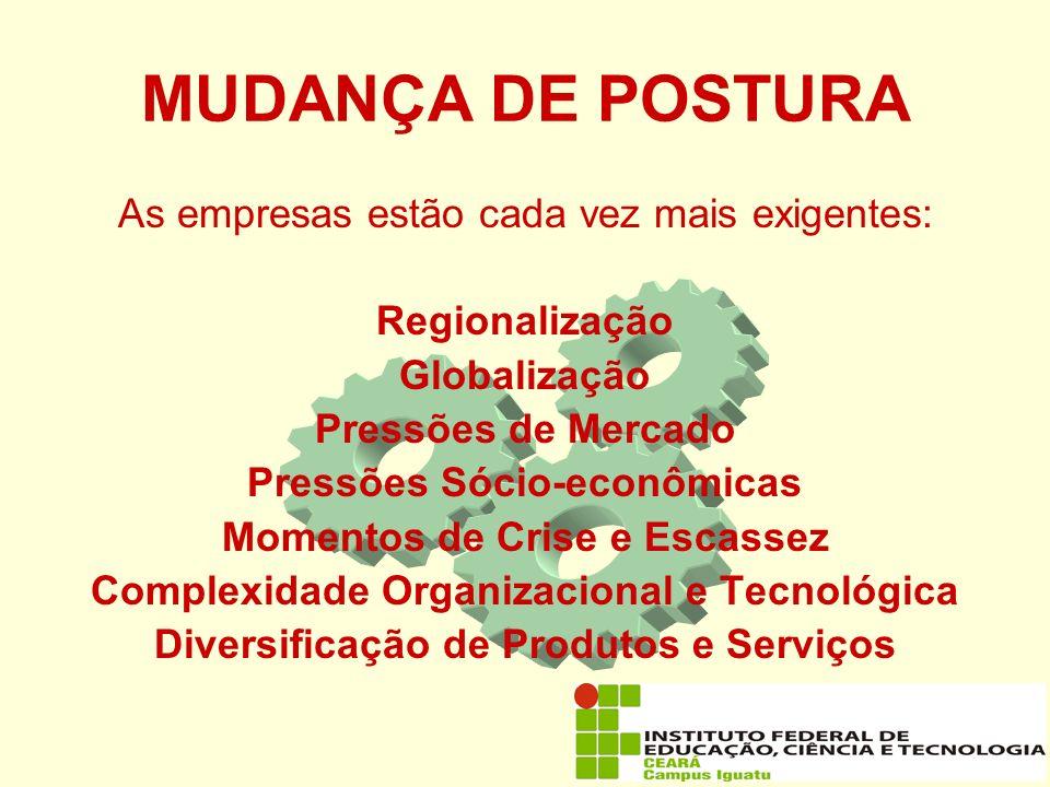 MUDANÇA DE POSTURA As empresas estão cada vez mais exigentes: