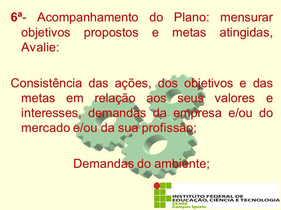 6ª- Acompanhamento do Plano: mensurar objetivos propostos e metas atingidas, Avalie:
