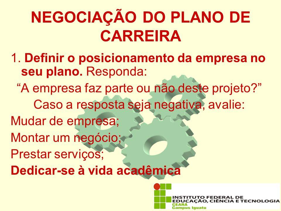 NEGOCIAÇÃO DO PLANO DE CARREIRA