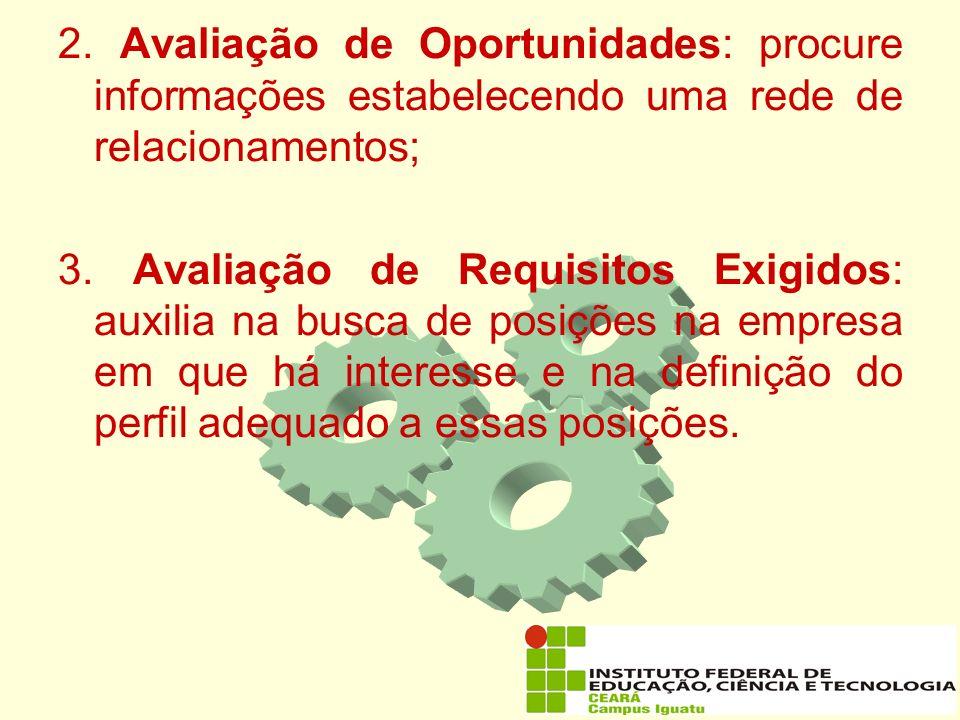 2. Avaliação de Oportunidades: procure informações estabelecendo uma rede de relacionamentos;