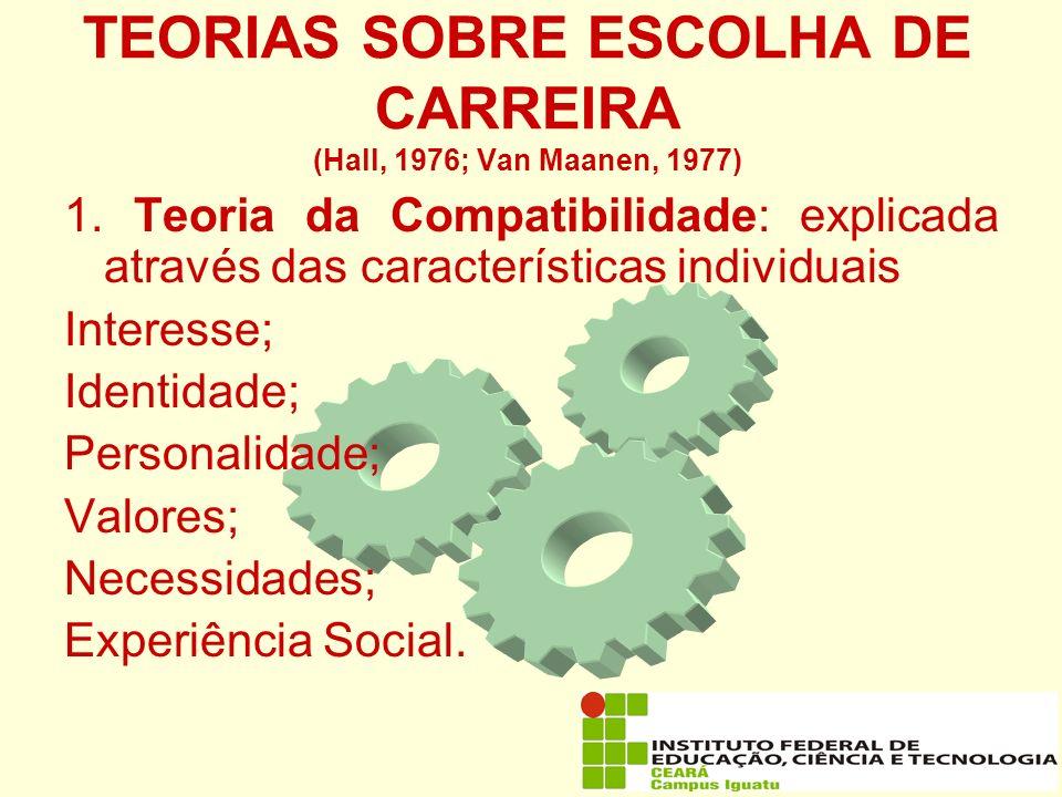 TEORIAS SOBRE ESCOLHA DE CARREIRA (Hall, 1976; Van Maanen, 1977)