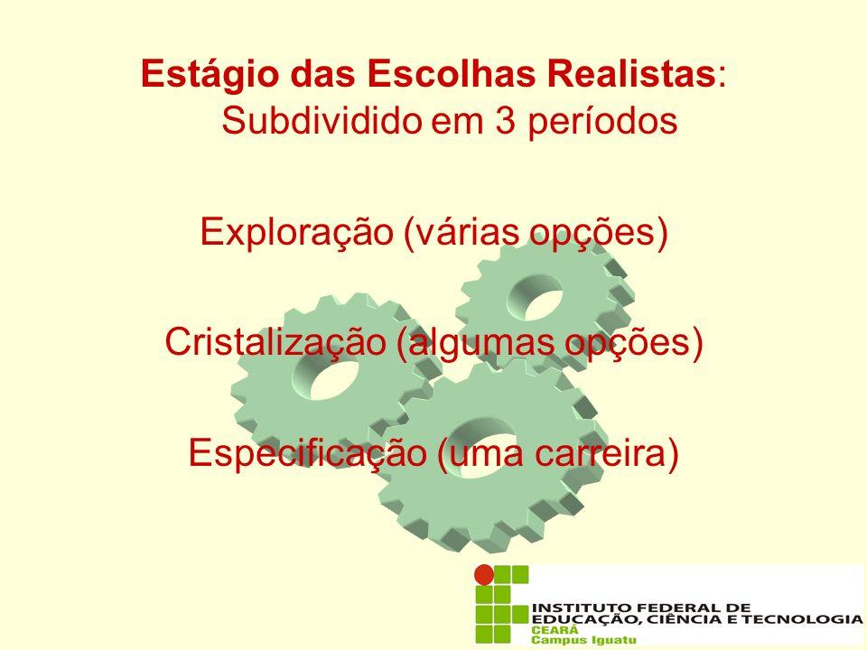 Estágio das Escolhas Realistas: Subdividido em 3 períodos